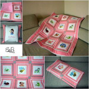 Růžová hrací deka